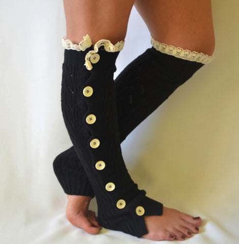 Lace Trim Leg Warmers with Side Buttons