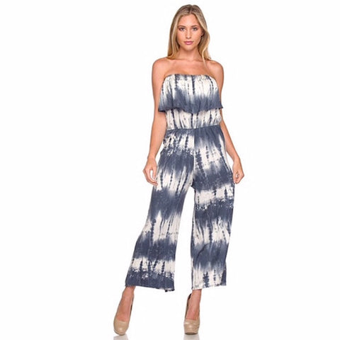 Tie Dye Strapless Layered Cropped Jumpsuit