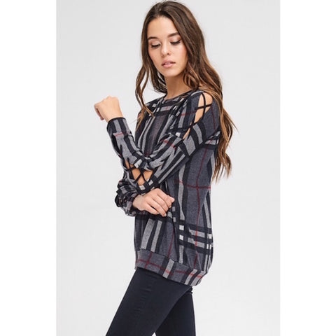 Charcoal Plaid Top with Criss Cross Sleeves
