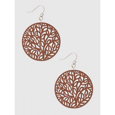 Tree of Life Leather Stencil Earrings in Brown