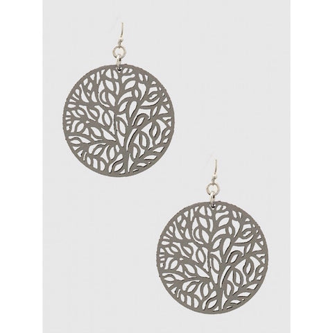 Tree of Life Leather Stencil Earrings in Gray