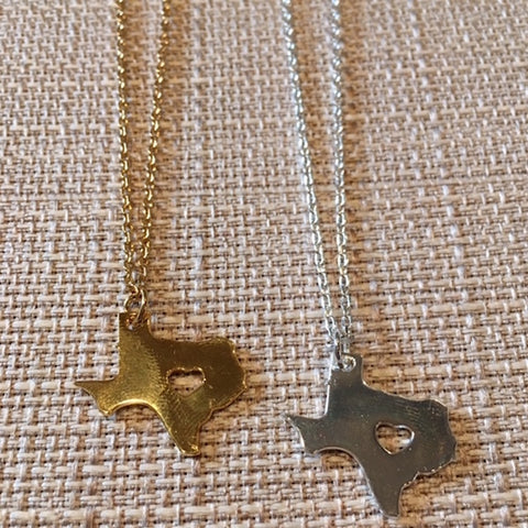 14K Gold Plated Texas Heart Necklace