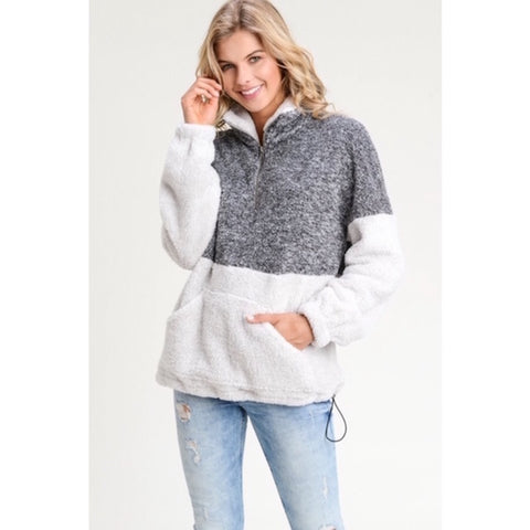 Two Tone Sherpa Pullover Sweater Gray