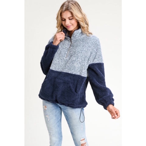 Two Tone Sherpa Pullover Sweater Navy Blue
