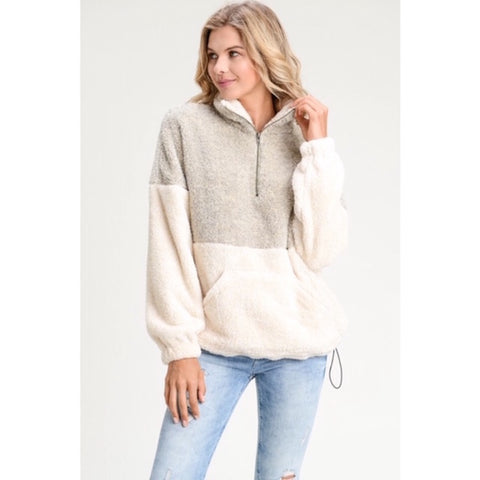 Two Tone Sherpa Pullover Sweater Taupe