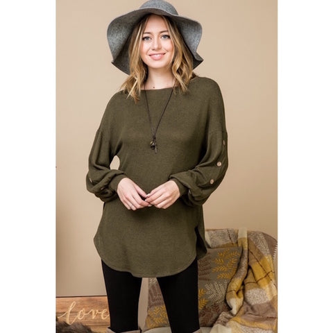 Olive Sweater with Balloon Button Detailed Sleeves