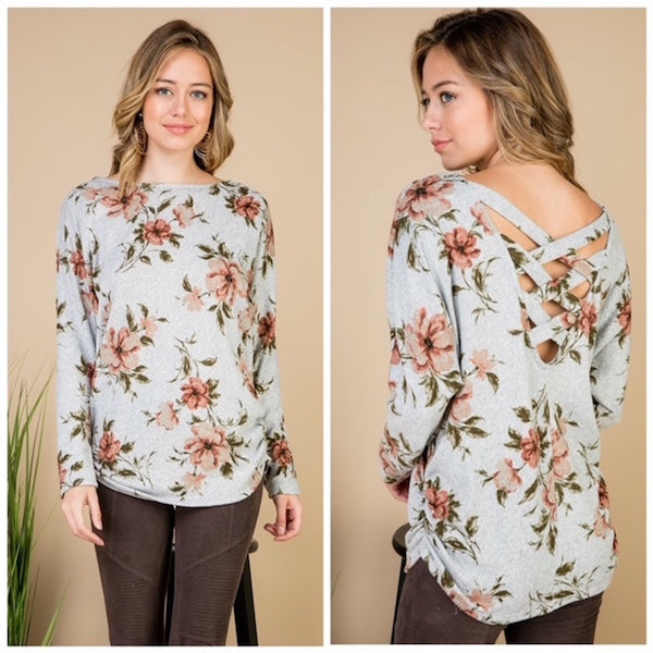 Gray Floral Criss Cross Back Sweater