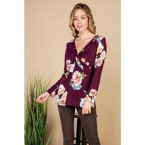 Plum Floral Twisted V-Neck Top