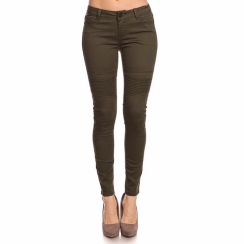 Moto Skinny Pants in Olive