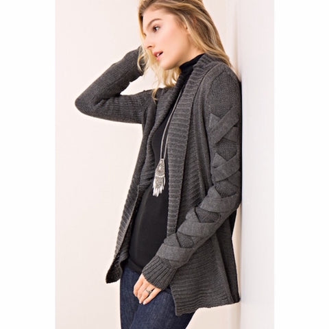Strappy Sleeved Cardigan in Gray