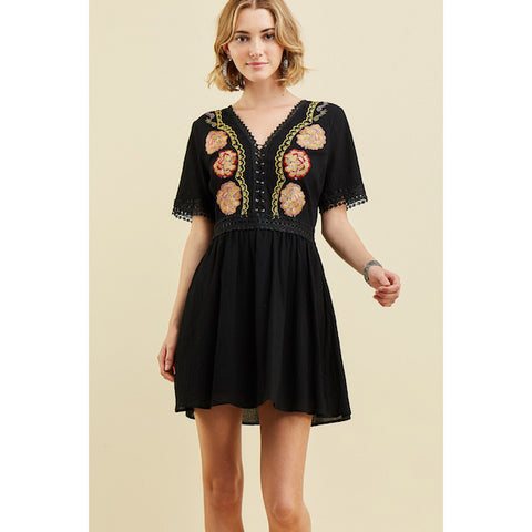 Embroidered Short Sleeve Dress in Black