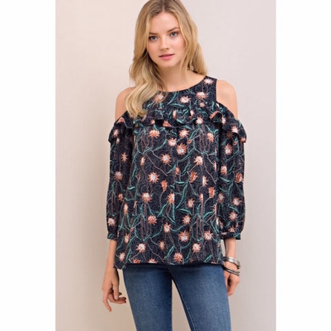 Navy Floral Ruffle Cold Shoulder Top
