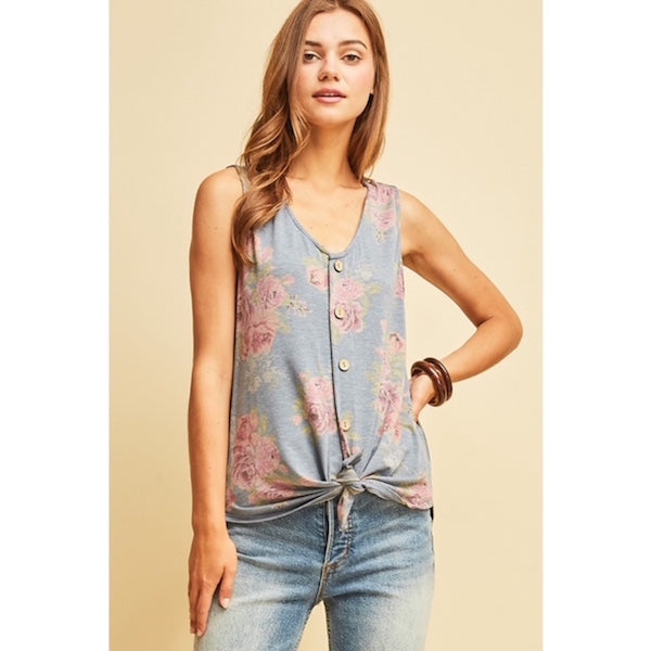 758599ef62b Floral Sleeveless Button Front Top with Tie – Chicks Picks Boutique