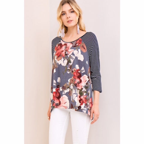 Floral with Striped Sleeves Knit Top