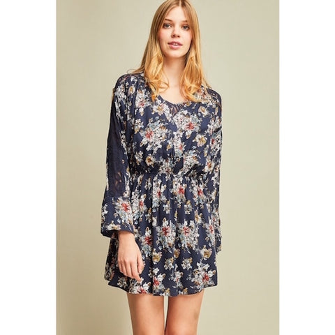 Navy Floral Print Dress with Lace Detail