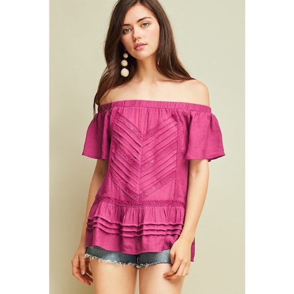 Off the Shoulder Top with Lace in Plum