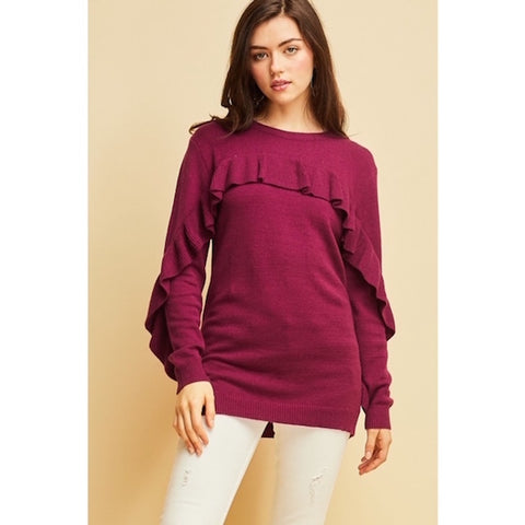Plum Ruffle Overlay Sweater