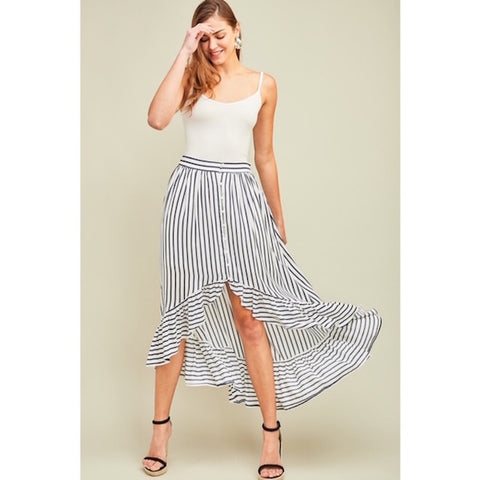Navy Striped Asymmetrical Skirt