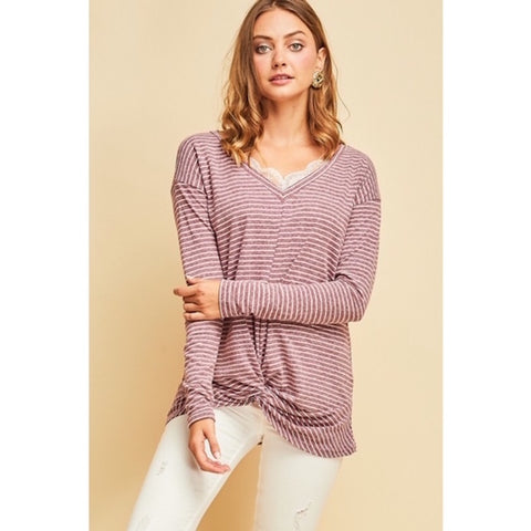 Striped Top with Gathered Hem & Lace