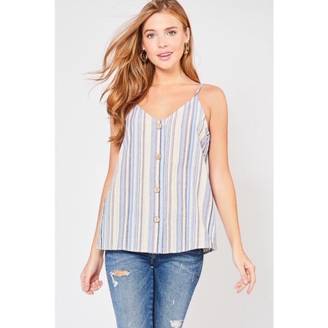 Striped Spaghetti Strap Top with Buttons