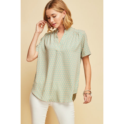 Diamond Print V-Neck Blouse
