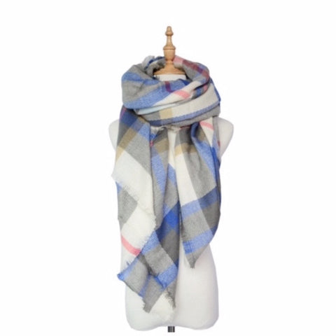 Tartan Plaid Blanket Scarf Cream