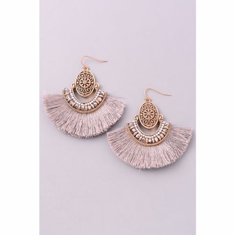 Antique Gold with Gray Fringe Earrings