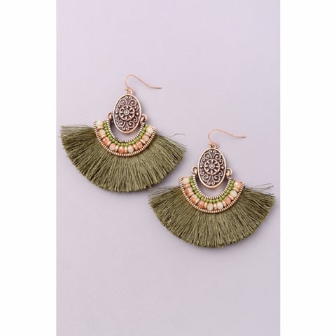 Antique Gold with Olive Fringe Earrings