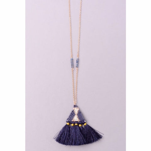 Navy Tassel Long Necklace
