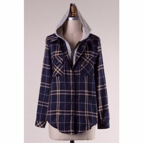 Flannel Hooded Plaid Button Up Shirt Navy & Khaki