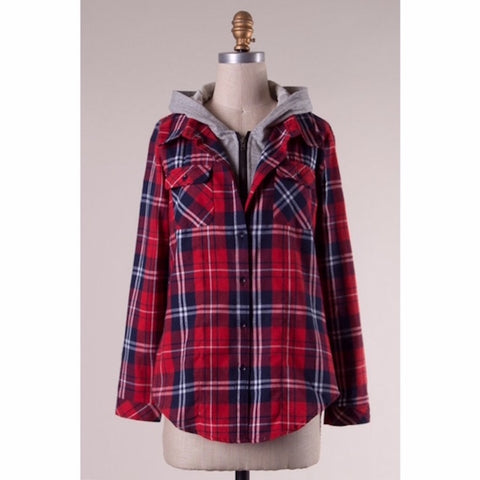 Flannel Hooded Plaid Button Up Shirt Red & Navy