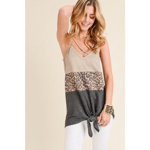 Criss Cross Leopard Color Block Tank