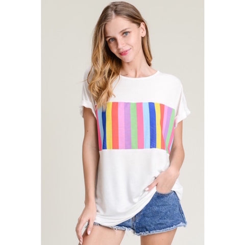 French Terry Striped Color Block Top
