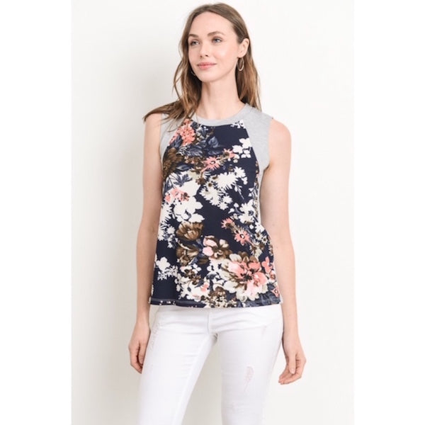 Sleeveless Floral Top with Gray Contrast