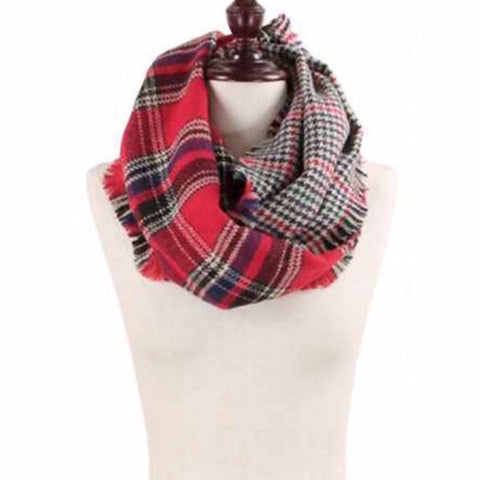 Plaid 2-Sided Infinity Scarf in Red