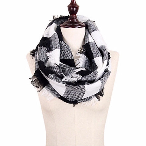 Check Infinity Scarf in Black & White