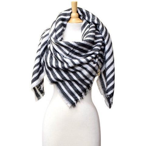 Striped Blanket Scarf Black