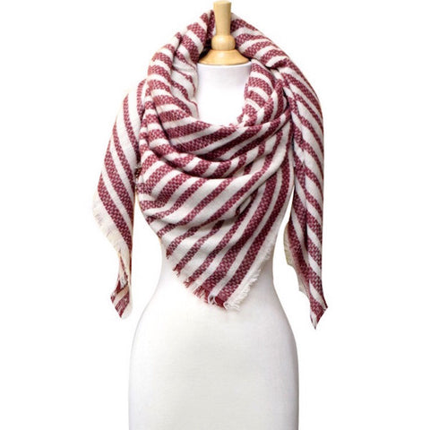 Striped Blanket Scarf Burgundy