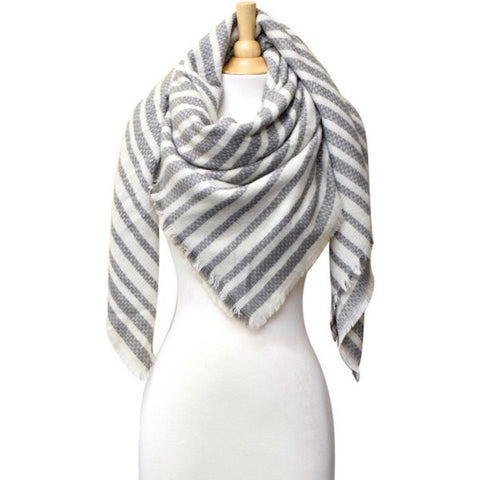 Striped Blanket Scarf Gray