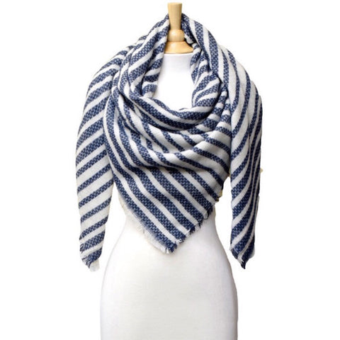 Striped Blanket Scarf Navy