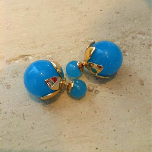 Turquoise Blue and Gold Double Sided Stud Earrings - Chicks Picks Boutique - 1