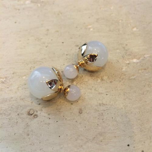 White and Gold Double Sided Stud Earrings - Chicks Picks Boutique - 1