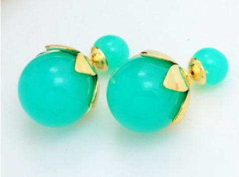 16mm Aqua and Gold Double Sided Stud Earrings