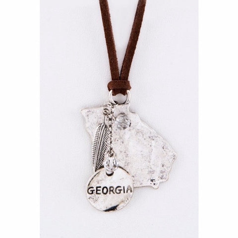 Georgia Map Leather Necklace Silver