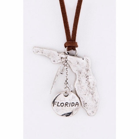 Florida Map Leather Necklace Silver