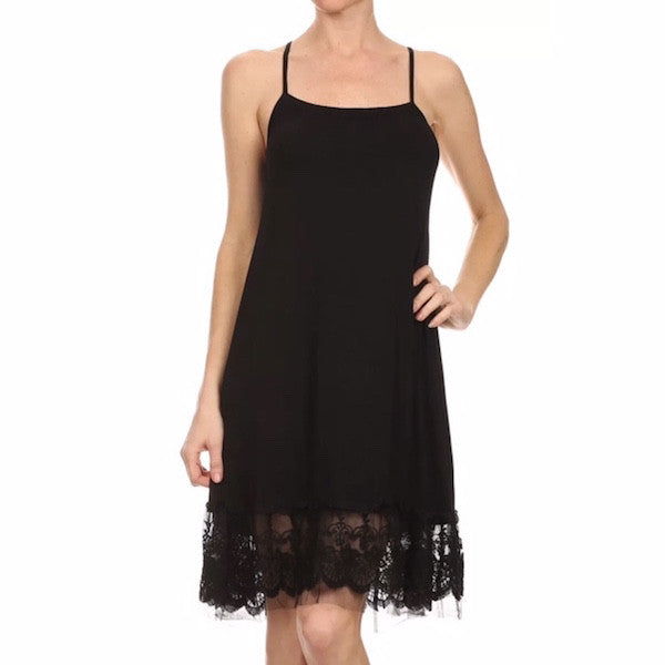 Lace with Tulle Dress Extender Black
