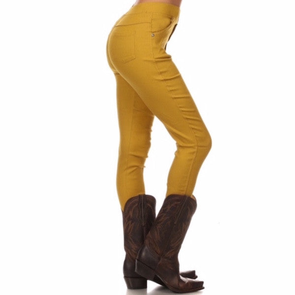 High Waisted Mustard Jeggings - Chicks Picks Boutique - 1