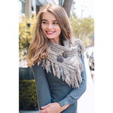 Button Accent Fringe Shoulder Warmer in Mocha