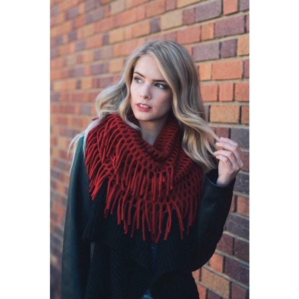 Chenille Fringe Infinity Scarf in Red