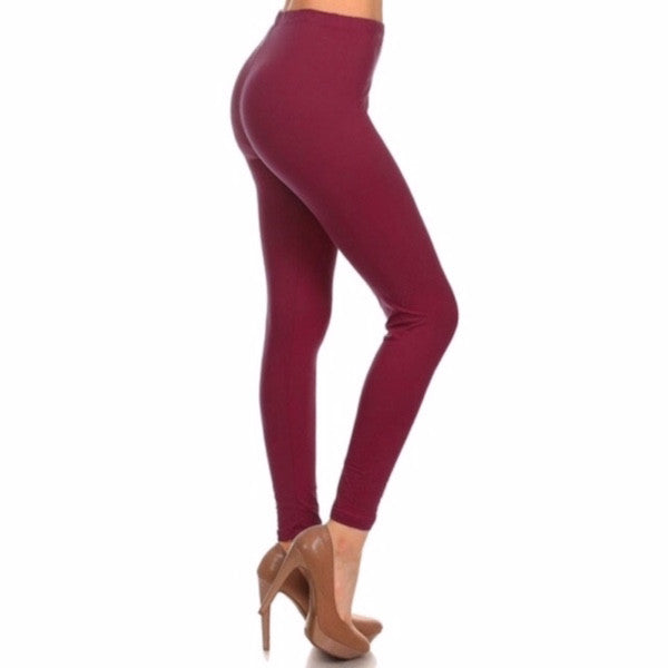 Basic Leggings in Burgundy - Chicks Picks Boutique - 1